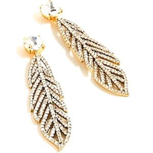 NWT J. Crew Crystal Feather Statement Earrings